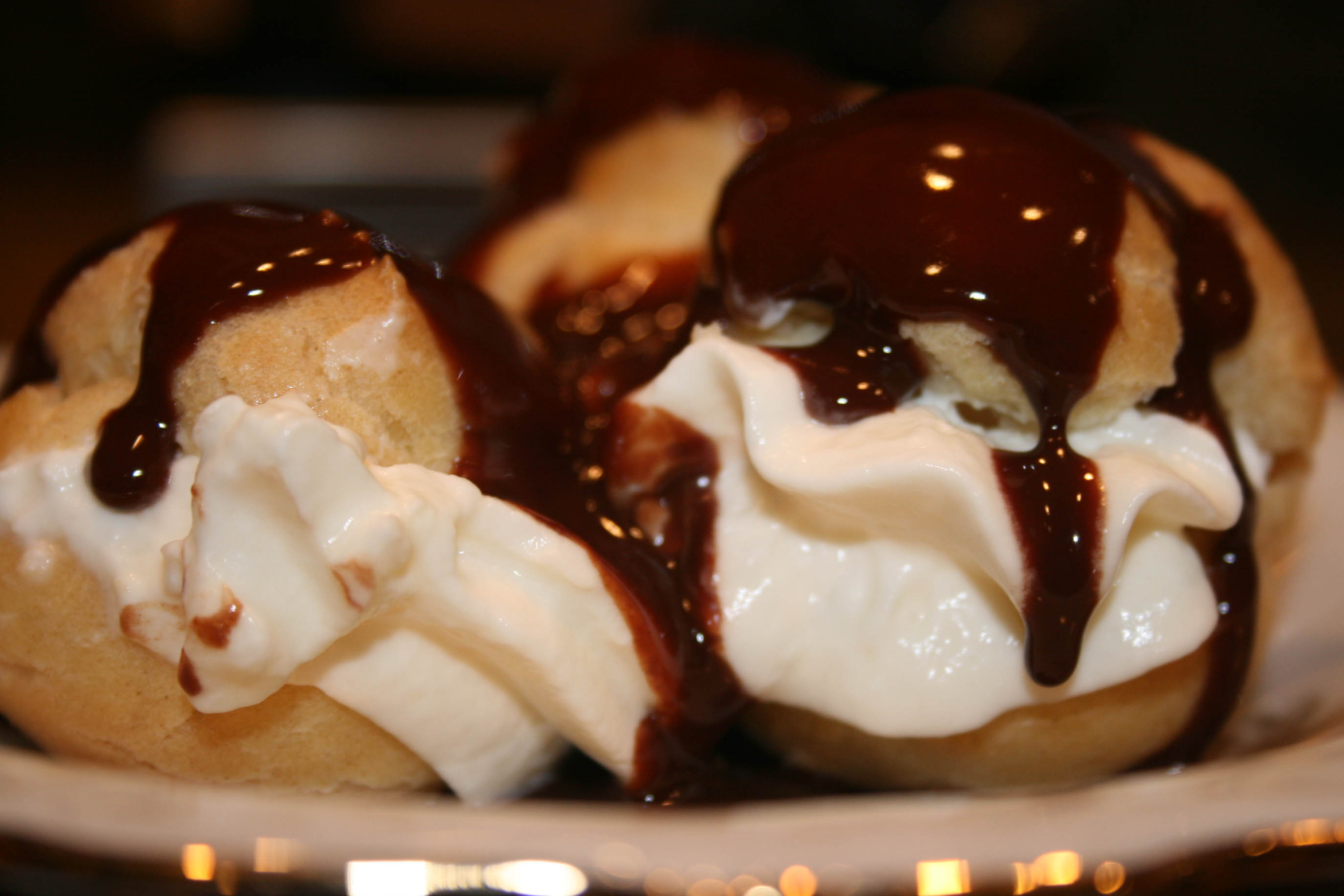 chartreuse ice cream profiteroles with caramel sauce profiteroles with ...